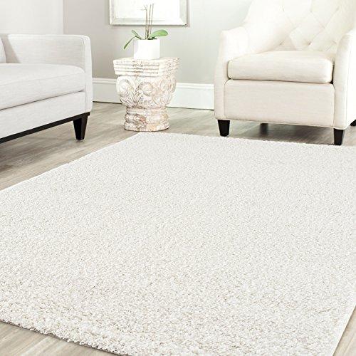 Star Shaggy Teppich Farbe Hochflor Langflor Teppiche Modern für Wohnzimmer Schlafzimmer Uni Farben - Teppich-Home, Farbe:Creme, Maße:60x100 cm