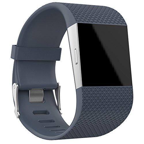 Hukz Silikonband,Große Ersatz-Armband Bandschließe Schnalle Tool Kit für Fitbit Surge(Bandlänge: 160-220 mm) (Grau)