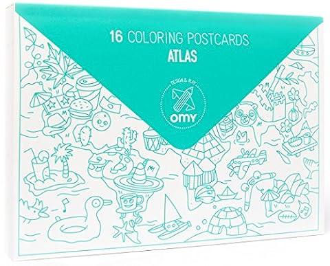 OMY CAP04 Altas Set de 16 Cartes Postales à Colorier