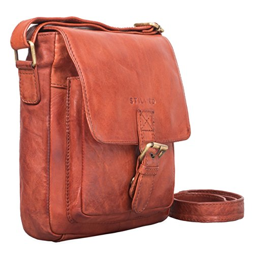 STILORD 'Arne' Vintage Borsa Messenger pelle marrone Uomo Borsa a tracolla piccolo Tablet PC 8.4 pollici in vera pelle, Colore:cognac-marrone cognac - used