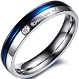 JewelryWe Bijoux Bague Femme Engagement Mariage Acier Inoxydable Anneaux Fantaisie Couleur Argent Bleu Largeur 4mm Avec Sac Cadeau(Taille de Bague 57)