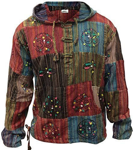 Shopoholic Fashion stonewashed Streifen Patchwork Hippy mit Kapuze Großvater Shirt - Multi, Multi, Medium (Herren-multi-streifen-shirt)