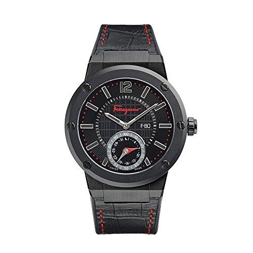 Salvatore Ferragamo F-80 Motion Herren Smartwatch verbunden mit schwarzem Zifferblatt und schwarzem Lederband FAZ020016 (F By Ferragamo Für Männer)