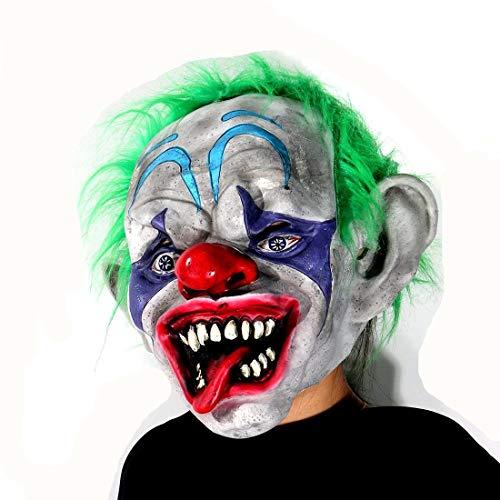 Hyaline&Dora Gruselige Zirkus-Maske, Halloween-Party-Kostüm, Dekoration, Requisiten, Latex-Maske für Erwachsene