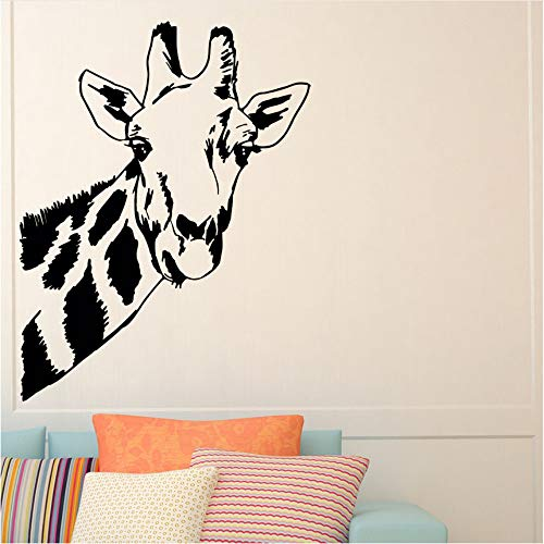 Dxyily Giraffe Kopf Vinyl Wandtattoo Safari Dschungel Thema Wohnkultur Wilde Tiere Wandkunst Aufkleber Zoo Park Vinyl Wandkunst Poster 57X74 Cm