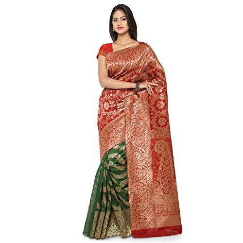 Makeway Brocade Self Design Kanjivaram Designer Wear PartyWear Red Dupion Silk Sari