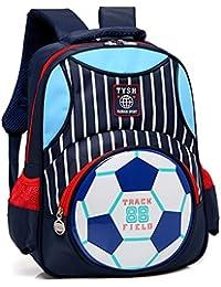 School Backpack For Boys Football Print Bookbag Kid Child Backpack School Bag (Navy Blue)
