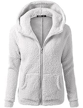 [Patrocinado]SHOBDW Mujeres de invierno de lana cálida cremallera abrigo con capucha suéter abrigo de algodón outwear