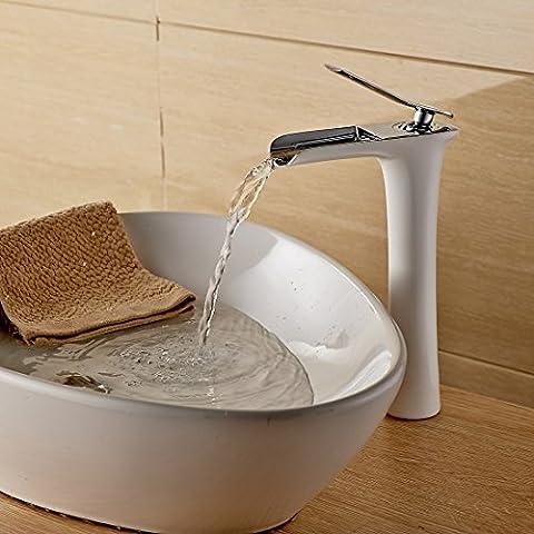 YanCui@ Miscelatore lavabo cascata-vetro bianco vernice rame (Raso Bianco Vernice)