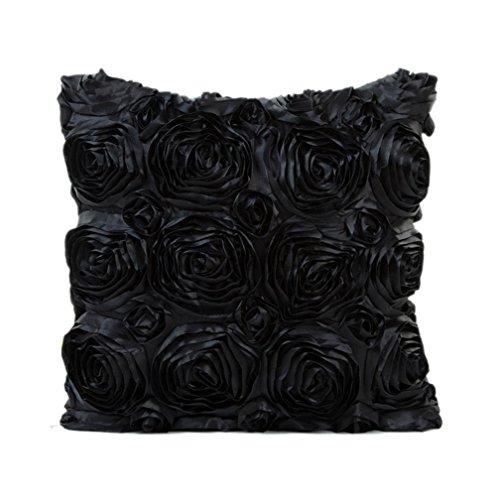 Kavitoz Kissenbezug Süße Rosen Blumen-Design Kissenhülle Kissenbezug Sofakissen Fall Bett Auto Dekor Dekokissen (Schwarz)
