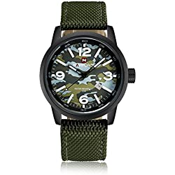 Qingmei NaviForce Men Military Analog Quartz Date Camouflage Round Dial Canvas Band Watch Green