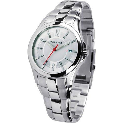 Montre Time Force de Chevalier. Chaîne acier cadran blanc calendrier. tf-2970m02m
