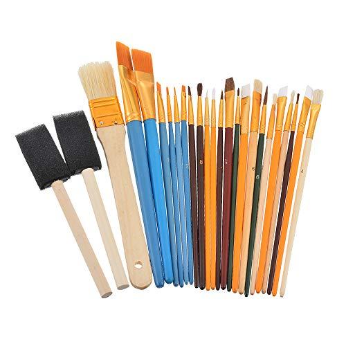 F.lashes 25er Künstler Pinselset Malen DIY Borstenpinsel Haarpinsel Schwammpinsel Flach- & Rundpinsel für Acryl Mehrzweck Ölpinsel Set -1 Set