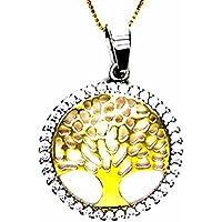 Pegaso Joyería – Collar oro amarillo 18 kt cadena con colgante árbol de la vida Bicolor