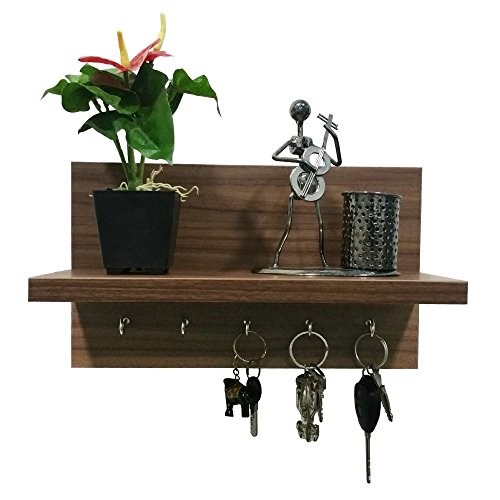 A10 Shop Omega 6 (Walnut) Wall Mounted Decor Shelf with Key Hooks