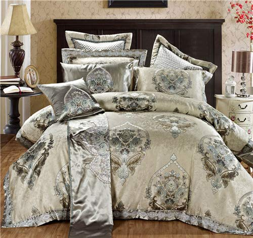 RONGXIE Luxury Silk Cotton Jacquard European Classic Bedding Set Duvet Cover Set Bed Spread Pillowcases Queen King Size -
