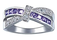 Bigood Women's Cross Crystal CZ Band Ring in Plate 925 Sterling Silver Purple 11