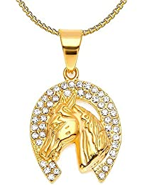 7bda481885c2 BOBIJOO Jewelry - Pendentif Fer à Cheval Tête Camargue Gitan Elvis Doré  Strass Acier ...