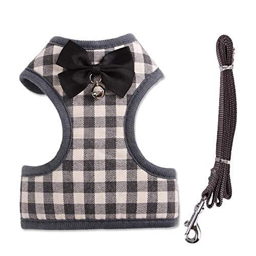 Tineer Haustier Hund Plaid Bowtie Harness Weste mit Nylon Leine für Puppy Cat Walking oder Training (S, Grey) Plaid Bowties