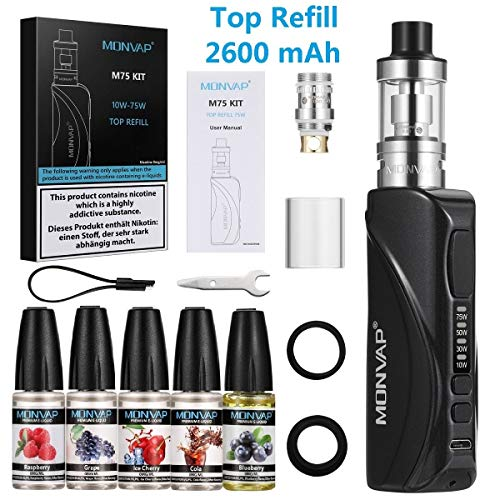 E Zigarette 75W, MONVAP M75 Starter Set mit 5x10ml E Liquid, 2600mAh Build-in Vape Akkuträger, Top Refill Verdampfer 0.3ohm 2ml E Dampfer, E Shisha Kit ohne Nikotin 0.0mg
