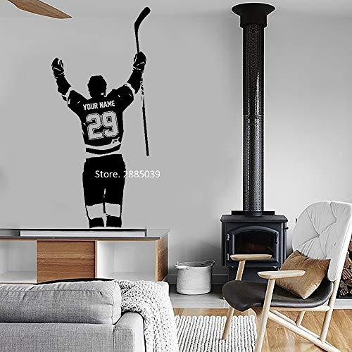 Personalisierte Hockey Player Wandtattoo Aufkleber Benutzerdefinierte Name & Nummern Kunst Hockey Ziel Vinyl Aufkleber Junge Kinder Schlafzimmer Dekor L56 * 125 cm -