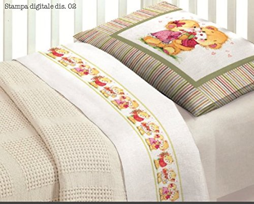 Idea regalo super offerta : completo lenzuola in stampa digitale lettino amici orsetti baby bimbo bimba ob
