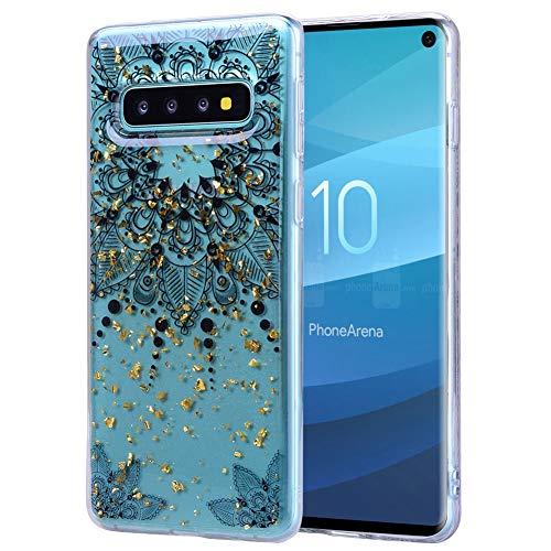 Samsung Galaxy S10 Silikon Hülle, Vemos Glitzer Funkeln Metallic Gold Foil Highlights Ultra Dünn Crystal Case Klar Bumper Schutzhülle mit Vintage Schwarz Muster - Blumen Floral Spitze -