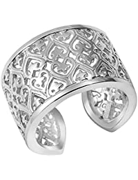 MATERIA Joyería Plata 925 anillo de plata de acero inoxidable en forma de estrella de ancho