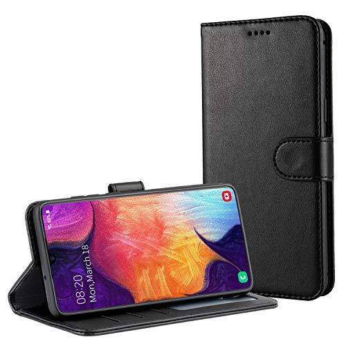 TAMOWA Handyhülle für Samsung Galaxy A50 Hülle, Leder Flip Handyhülle Schutzhülle Tasche für Samsung Galaxy A50 [Kartenfach] [Standfunktion] [Magnetverschluss], Schwarz