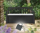 Koll Living Gartenbank mit Kissentruhe Anthrazit inkl. Schloss - Modell 2018
