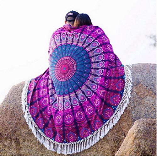 Gamloious Mandala Redonda Tapiz de Picnic Throw Manta Manta de Playa del Verano Toalla Bikini mantón de la Borla de Bohemia colchonetas de Yoga Mat Textiles para el hogar