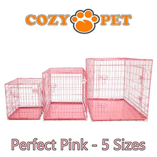 Cozy Pet Hundekäfig, Hochwertiger, Größe 77cm in Rosa, 2 Türen, Metallschale, Welpenkäfig, Faltbar Käfig, Transportkäfig für Hunde, Katzen, Welpen und Haustiere, Hundekiste, Hundekäfige - Artikel DC30P