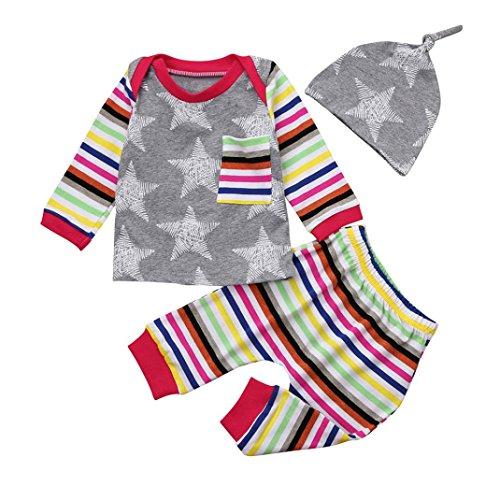 Neugeborene Kleidung Sweatshirt Hirolan Babykleidung Krabbelhosen Säugling Baby Junge Mädchen Sterne Drucken Langarmshirt Taschen Tops + Gestreifte Hose + Babymützen Set (Grau, 70)