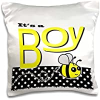 Janna Salak Designs Baby - Its a Boy - Cute Yellow Bumble Bee Black and White Polka Dots - 16x16 inch Pillow Case - Bumbles Giardino
