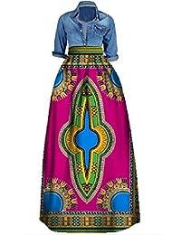 b06b20a7447 Outgobuy Damen Traditionelles afrikanisches Dashiki Kleid Langes Maxi EIN  Linie Rock Ballkleid