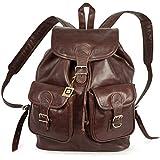 Großer Lederrucksack Größe L / Laptop Rucksack bis 15,6 Zoll, für Damen und Herren, aus geöltem Leder, Kastanien-Braun, Hamosons 560