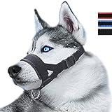 RockPet Maulkorb aus Nylon Um Hunde vom Beisen, Bellen und Kauen abzuhalten, Anpassbare Schlinge (S,Schwarz)