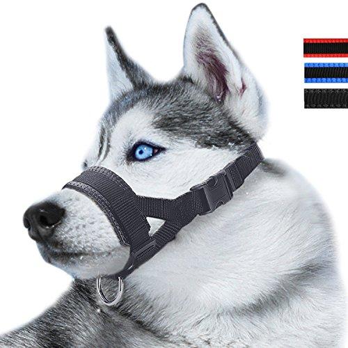 RockPet Maulkorb aus Nylon Um Hunde vom Beisen, Bellen und Kauen abzuhalten, Anpassbare Schlinge (S,Schwarz) -
