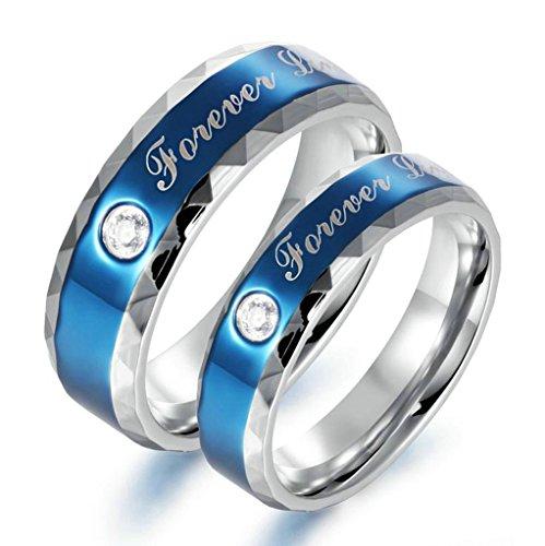 "Epinki Bijoux Alliance His & Her 2 Pcs Acier Inoxydable ""Forever love"" Bleu Couples Mariage Bague Avec Zirconia 6MM/4MM Femme Taille 56.5 & Homme Taille 54"
