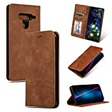 GoodcAcy LG V50 ThinQ Hülle,with [Panzerglas Schutzfolie] Premium Leder Flip Case Schutzhülle Handy Lederhülle Tasche Klapphülle für LG V50 ThinQ Brown