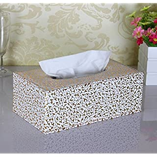 ANKKO PU Leather Crocodile Pattern Rectangular Tissue Box Holder For House Car