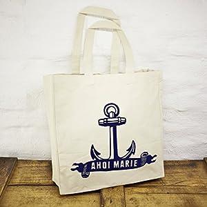 Einkaufstasche/Shopper/Schultertasche Design Ahoi Marie Anker – Baumwolle blau-weisser Druck