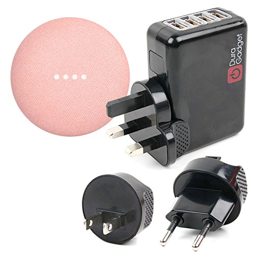Duragadget Chargeur Secteur USB + Adaptateurs Internationaux pour Google Home Mini Enceinte connectée à Commande vocale/Assistant