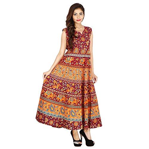 JR Print Women's Long Dress Jaipuri Animal Print Cotton  available at amazon for Rs.399