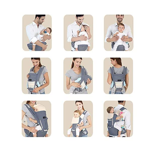 Azeekoom Baby Carrier, Ergonomic Hip Seat, Baby Carrier Sling with Fixing Strap, Bibs, Shoulder Strap, Head Hood for Newborn to Toddler from 0-36 Month (Gray) Azeekoom 【More Ergonomic】 - Baby carrier for newborn has an enlarged arc stool to better support the baby's thighs, the M design that allows the knees to be higher than the buttocks when your baby sits, is more ergonomic.The silicone granules on the stool provide a high-quality anti-slip effect that prevents the baby from slipping off the stool. 【Various Methods of Carrying】- There are 5 combinations of ergonomic baby carrier and a variety of ways to wear them.Hip Seat/Fixing Strap + Hip Seat/Shoulder Strap + Hip Seat/Strap + Hip Seat/Strap, 5 combinations to meet your needs.Fixing Strap frees your hands and prevent your baby from falling over the stool.The shoulder straps reduce the burden on your waist and make you more comfortable. 【More Comfortable】 - The baby carrier is made of high quality cotton fabric with 3D breathable mesh for comfort and coolness. The detachable sunshade provides warmth in winter and fresh in summer. The detachable cotton slobber allows you to Easy to change. At the same time, the zip closure is designed for easy removal and cleaning. 7