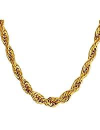 5e4fd0f8fd78 U7 Collar de Cadena Eslabones para Hombre de Acero Inoxidable Chapado en Oro  Metal