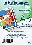 EtikettenPlus Ltd Fotopapier, 100 Blatt, EF3180100, A3 (297x420 mm) 180g/qm glänzend (glossy), wasserfest, sofort wischfest für alle Tinten- und Fotodrucker