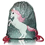 Unicorn MAGIC COLLECTION with brocade kids girl fashionable drawstring bag shoe bag backpack - childrens-sports-bags, childrens-bags