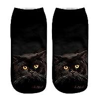 Toamen Cartoon Ankle Socks, Sale Clearance Men Women Unisex Popular Funny Anklet Socks Cute 3D Cat Printed Novelty Gift (Multicolor F)