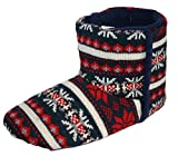 Mens Dunlop BOBBY Nordic Bootee Slippers Charcoal Fairisle Knitted uppers